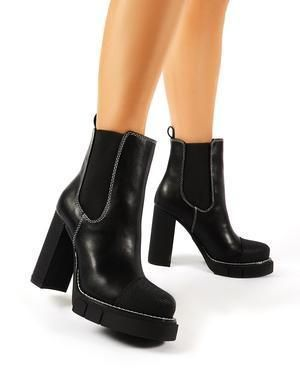 Casual Style Plain Block Heels Ankle & Booties Boots