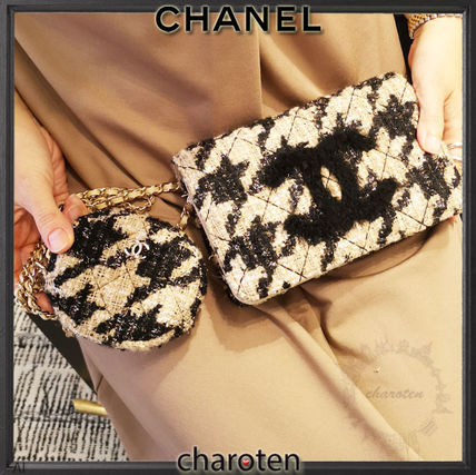 CHANEL CHAIN WALLET Zigzag Casual Style Blended Fabrics 3WAY Chain Party Style
