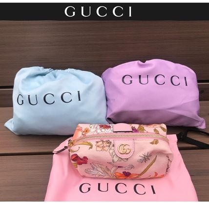 GUCCI Flower Patterns Canvas Plain Logo Pouches & Cosmetic Bags