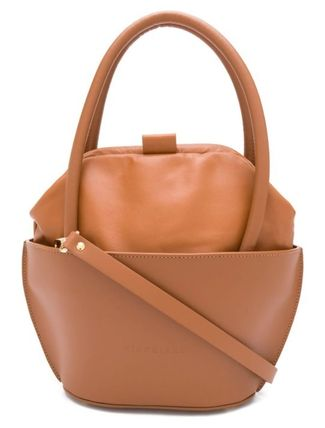 Casual Style Plain Leather Party Style Logo Handbags