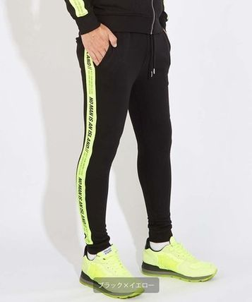 Tapered Pants Unisex Street Style Plain Logo Neon Color