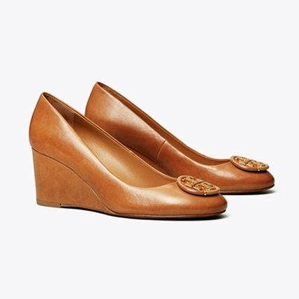Tory Burch Logo Round Toe Plain Leather Elegant Style