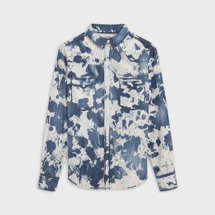 CELINE Button-down Camouflage Long Sleeves Cotton Luxury Shirts
