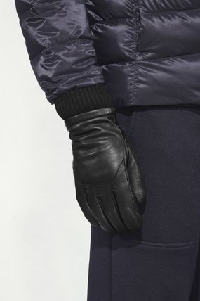 CANADA GOOSE Plain Leather Logo Leather & Faux Leather Gloves