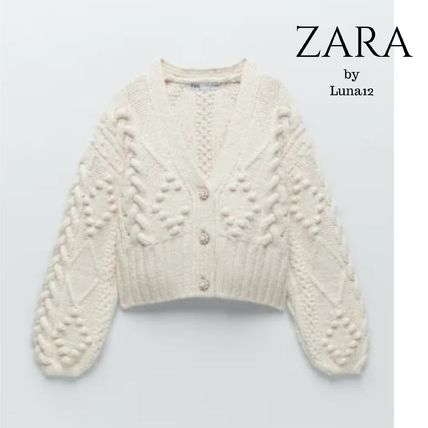 ZARA Cable Knit Casual Style Long Sleeves Plain Medium