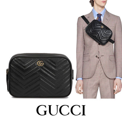 GUCCI GG Marmont Casual Style Unisex Vanity Bags 2WAY Plain Leather