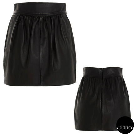 Pencil Skirts Short Plain Leather Mini Skirts