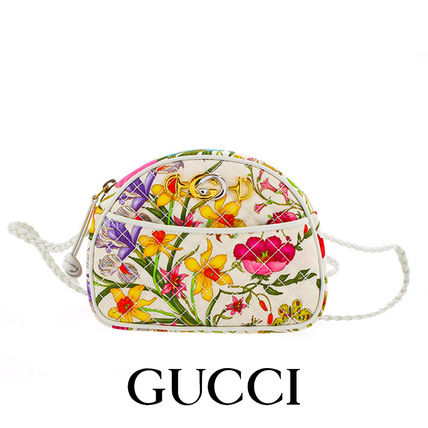 GUCCI Flower Patterns Casual Style Unisex Canvas Vanity Bags