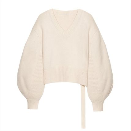Short Casual Style Nylon Rib V-Neck Long Sleeves Plain