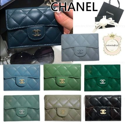 CHANEL MATELASSE Plain Leather Small Wallet Logo Folding Wallets