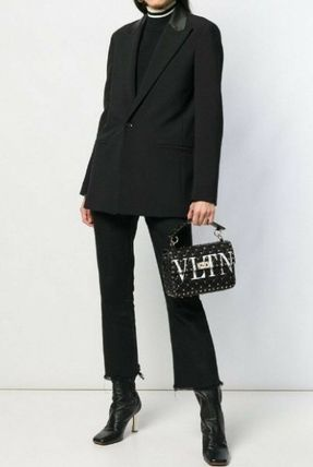 VALENTINO Casual Style Leather Street Style Party Style Office Style