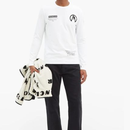 MONCLER Crew Neck Street Style Long Sleeves Logos on the Sleeves