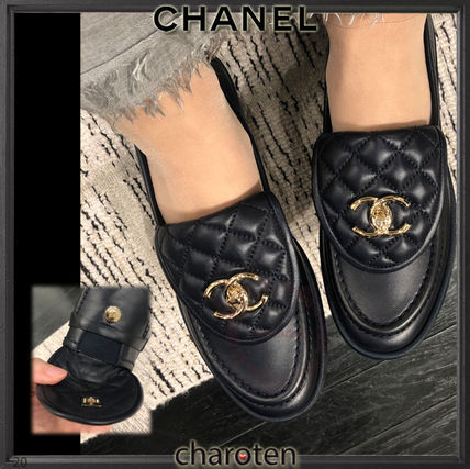 CHANEL ICON Plain Toe Casual Style Plain Leather Party Style