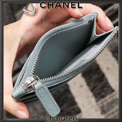 CHANEL TIMELESS CLASSICS Unisex Calfskin Plain Small Wallet Card Holders