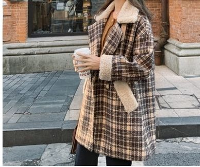 Shearling Front Button Zigzag Casual Style Medium