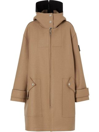 Burberry Wool Plain Medium Oversized Logo Coats