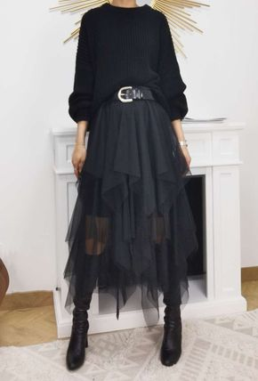 Formal Style  Bridal Tired Sheer Flared Skirts Casual Style