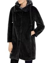 HERNO Wool Fur Studded Leather Long Elegant Style Wrap Coats