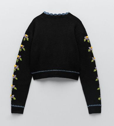 ZARA Flower Patterns Casual Style Long Sleeves Cardigans