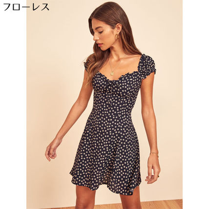 Short Flower Patterns Casual Style Flared Short Sleeves