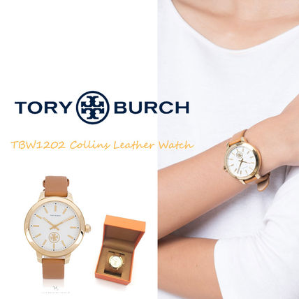 Tory Burch Casual Style Unisex Leather Round Party Style Quartz Watches