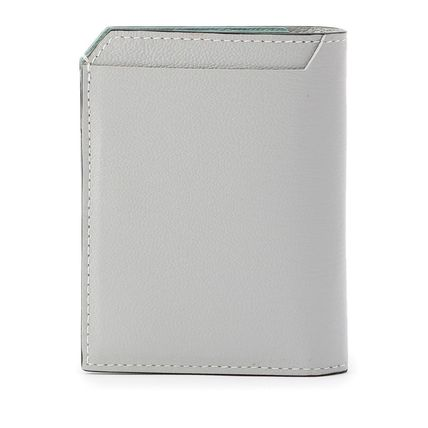 Unisex Collaboration Bi-color Plain Leather Folding Wallet