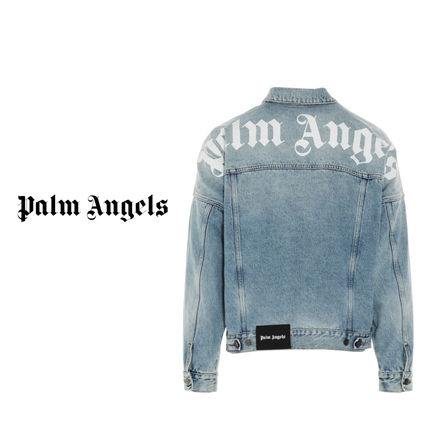 Palm Angels Unisex Denim Street Style Plain Denim Jackets Logo Jackets