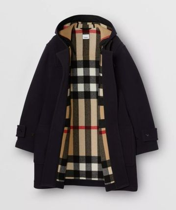 Burberry Other Plaid Patterns Wool Nylon Blended Fabrics Street Style