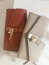 Chloe ABY Plain Leather Long Wallets