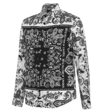 VERSACE Paisley Street Style Long Sleeves Cotton Logo Front Button