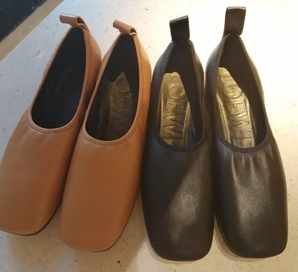 LOEWE Plain Leather Ballet Shoes