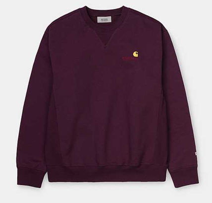Carhartt U-Neck Collaboration Long Sleeves Plain Cotton