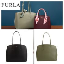 FURLA Casual Style A4 Plain Leather Party Style Office Style