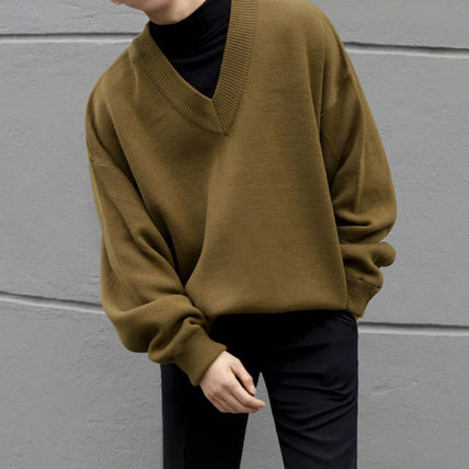 Cable Knit Pullovers Unisex Sweat Street Style V-Neck