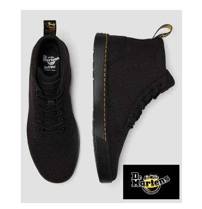 Dr Martens Unisex Street Style Plain Leather Logo Boots
