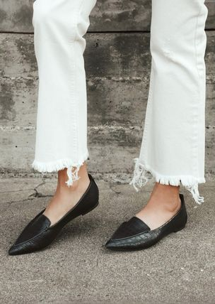 Casual Style Suede Faux Fur Plain Pointed Toe Shoes