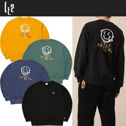 Unisex Street Style Long Sleeves Logo Sweatshirts