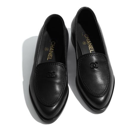 CHANEL Casual Style Plain Leather Block Heels Party Style