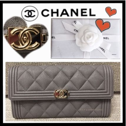 CHANEL BOY CHANEL Calfskin Plain Long Wallets