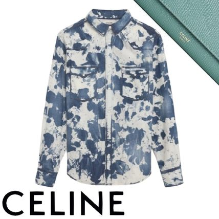 CELINE Button-down Camouflage Denim Street Style Long Sleeves