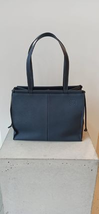 LOEWE CUSHION Logo Unisex Calfskin Plain Leather Totes