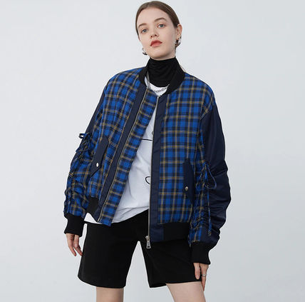 Stand Collar Coats Gingham Glen Patterns Tartan Faux Fur