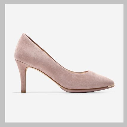 Casual Style Suede Plain Leather Pin Heels Party Style
