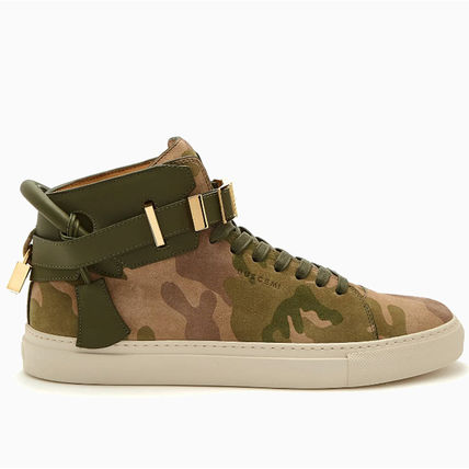 Camouflage Blended Fabrics Street Style Logo Sneakers