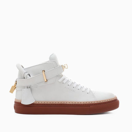 Blended Fabrics Street Style Plain Leather Logo Sneakers