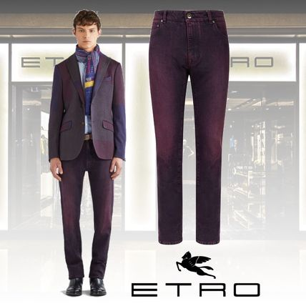 ETRO More Jeans Blended Fabrics Plain Cotton Jeans