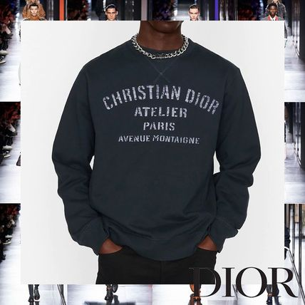 Christian Dior Sweatshirts Pullovers Street Style Long Sleeves Plain Cotton Oversized