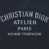 Christian Dior Sweatshirts Pullovers Street Style Long Sleeves Plain Cotton Oversized 4