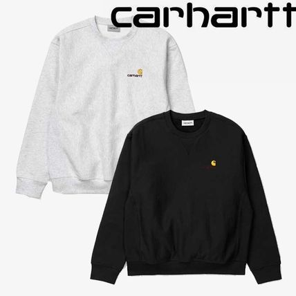 Carhartt Sweatshirts Unisex Sweat Street Style Long Sleeves Plain Cotton Logo