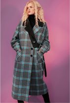 ELF SACK Other Plaid Patterns Casual Style Street Style Medium Long